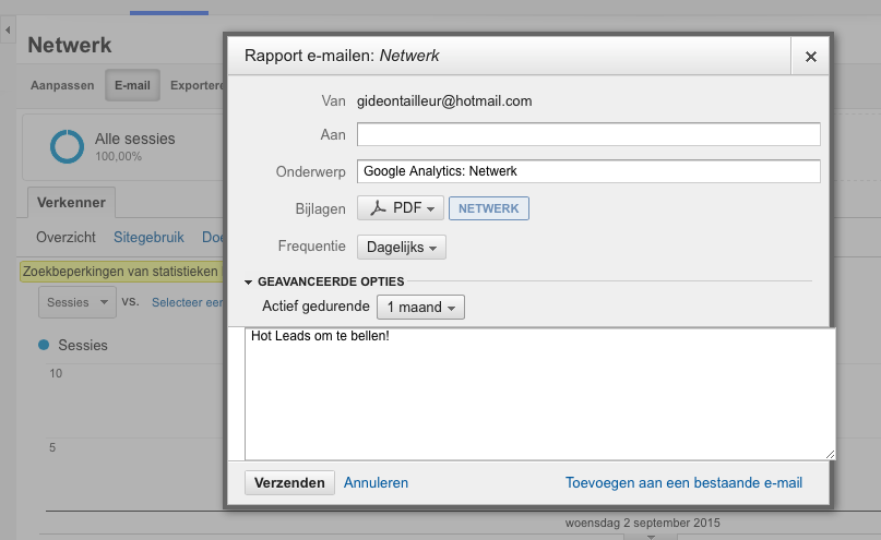 Mail hot leads google analytics mailinglist